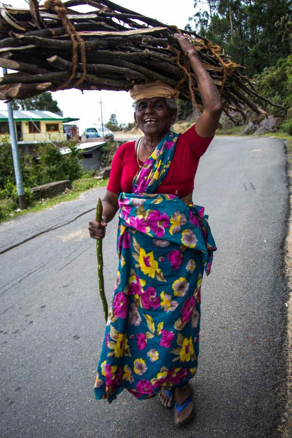 Kodai woman with firewood