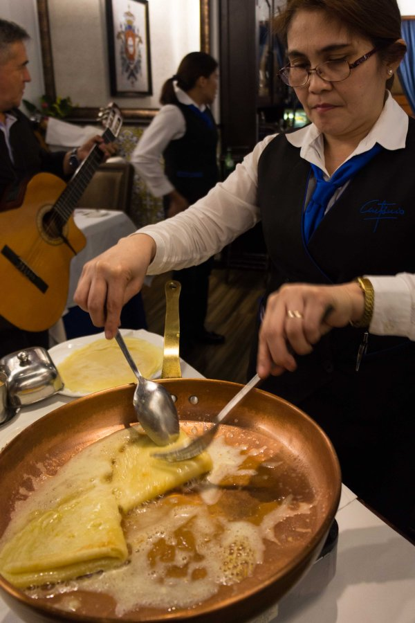 Crepe Suzette being prepared at Antonio in Macau