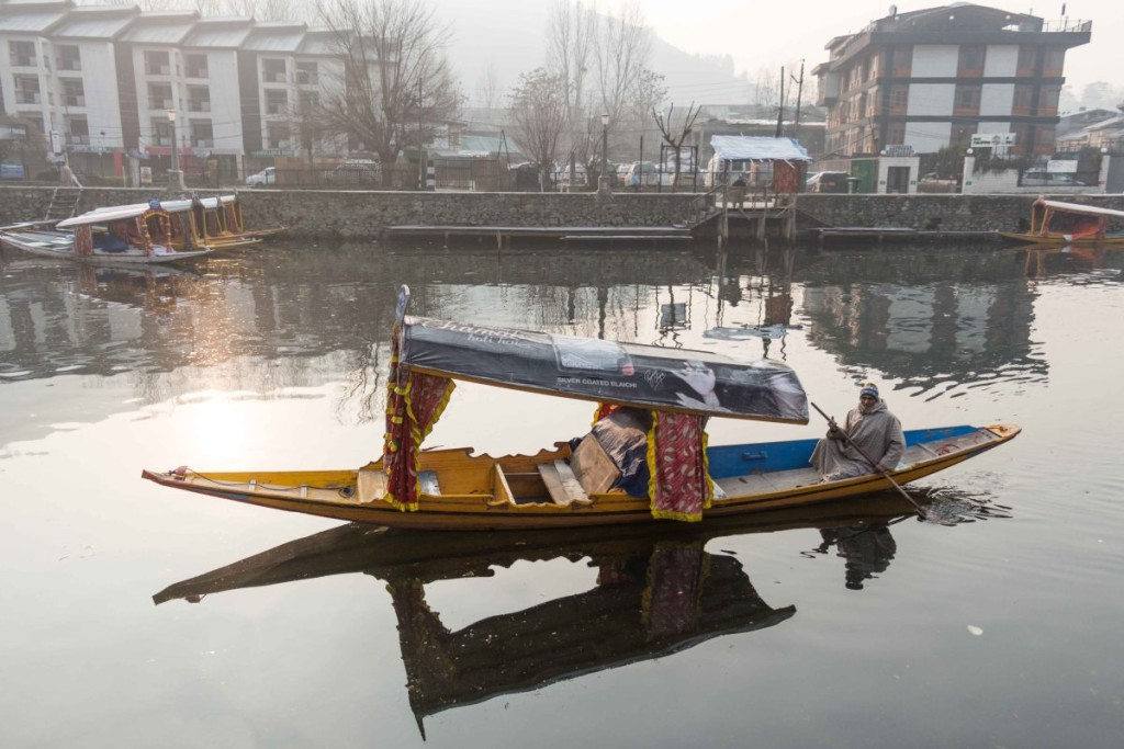 A shikhara in the Dal Lake