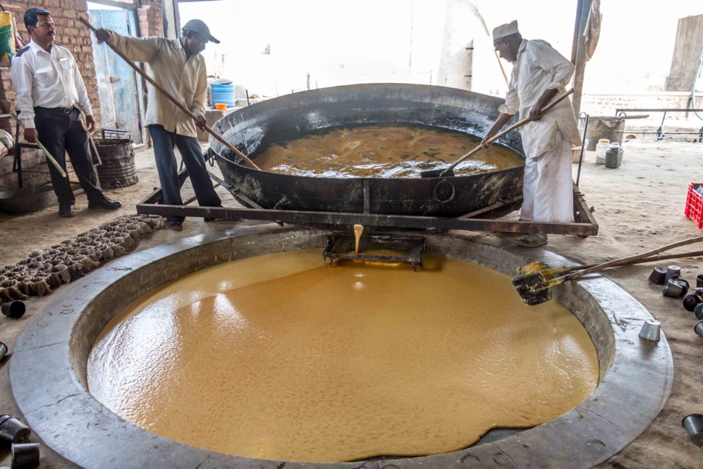 Jaggery in the making
